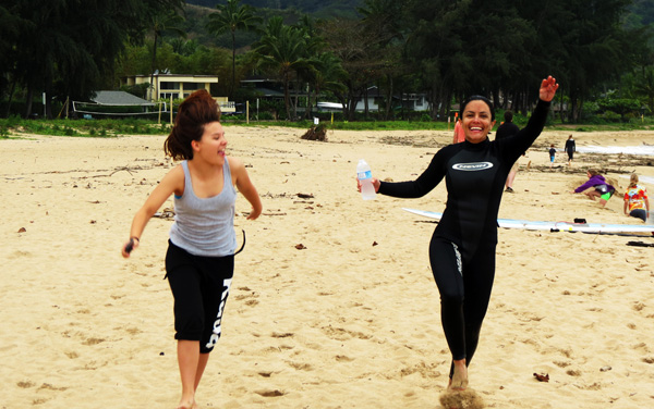Hanalei Beach Nell & D Skipping