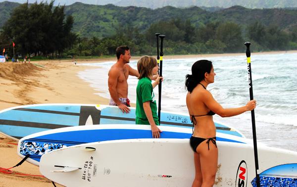 Hanalei Beach Nell Earl and Trey w Boards