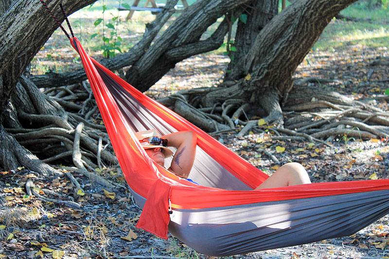 Sleeping in Hammock