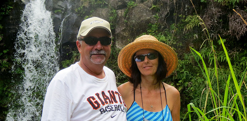 Parents in Front of Waterfall