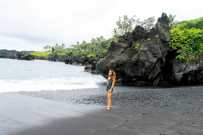 Nell on Black Beach by Cave