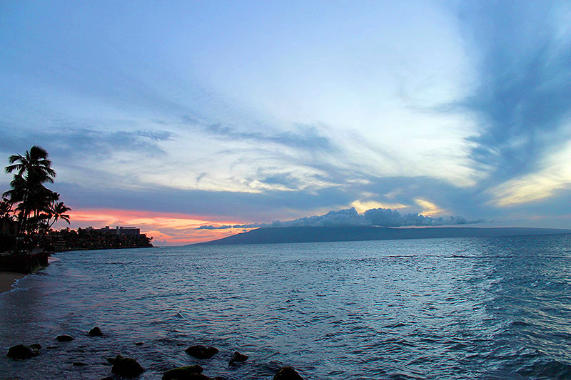 Sunset over Condo Beach in Maui