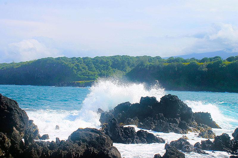 Wave Splashing up on Lava Rock 3