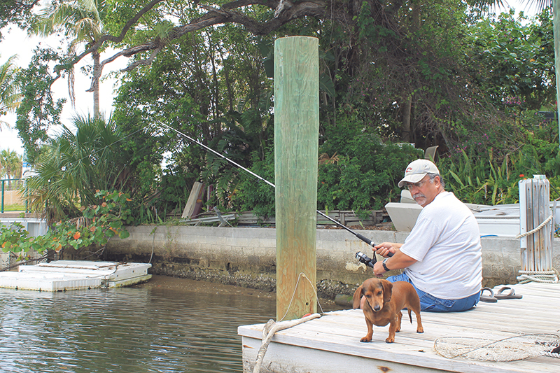 A Man and His Dog Fishing