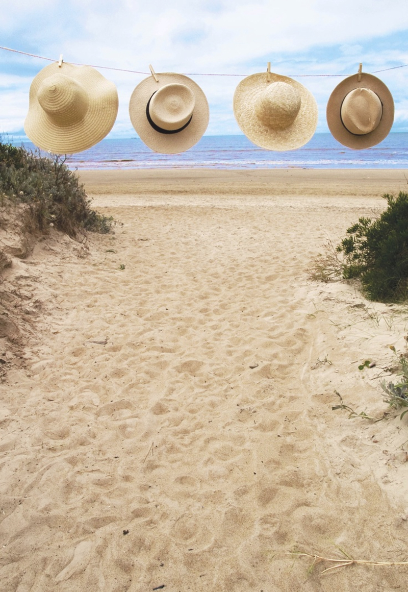 hats at the beach
