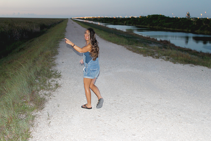 Nell Pointing to the Everglades