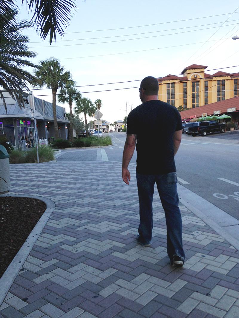 Steve walking down the street
