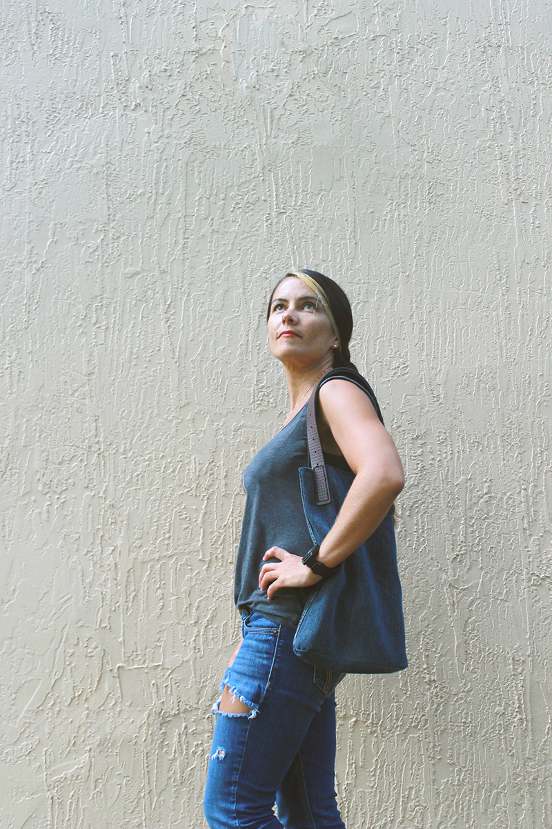 Denim & Leather Purse On