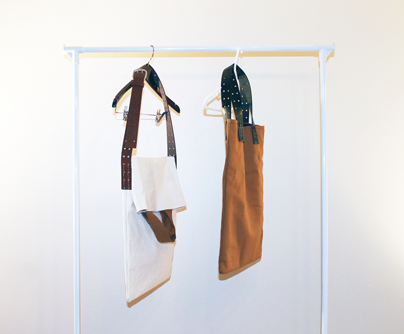 White and Brown Canvas Bags Hanging 800