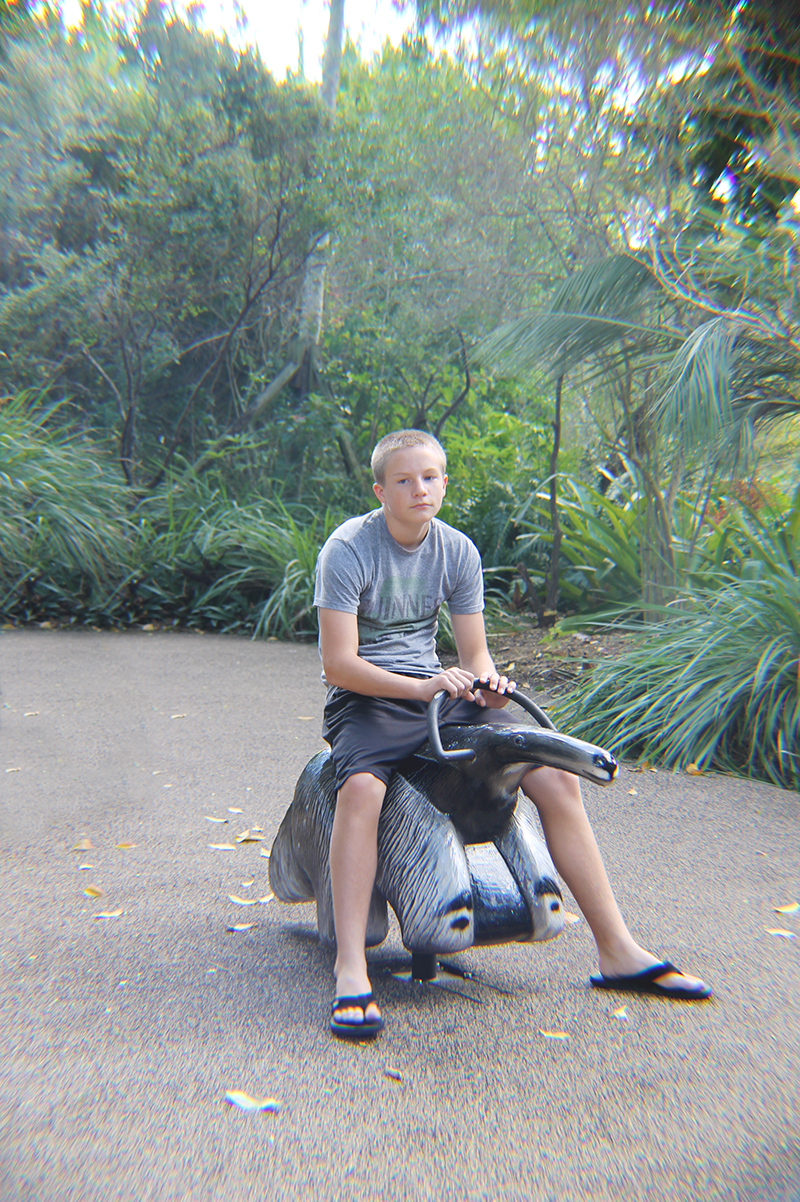 Trey riding the anteater