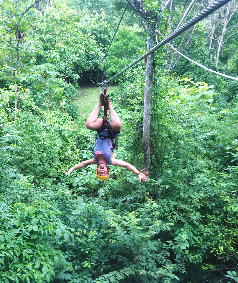 Nell Zip Lining Upside Down
