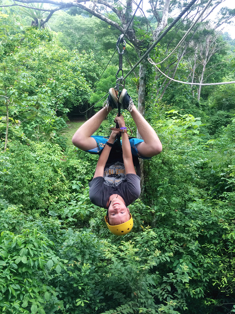 Trey Zip Lining Upside Down