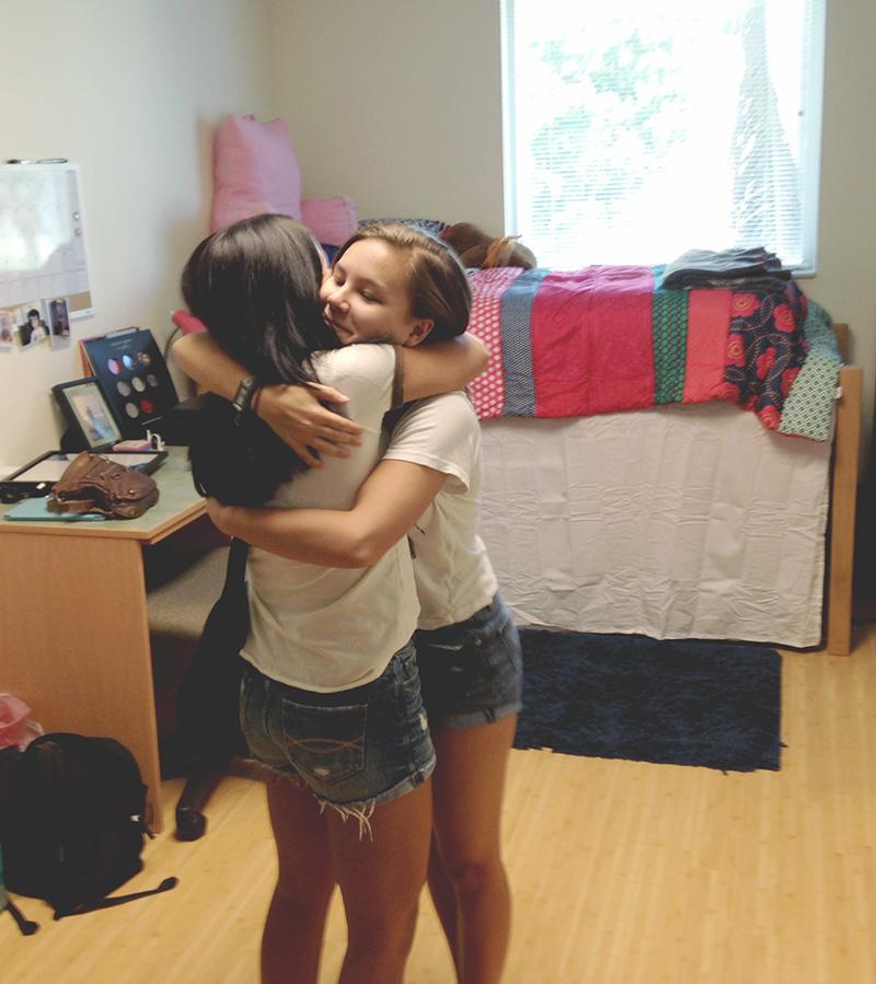 Nell & Dee Hug Goodbye